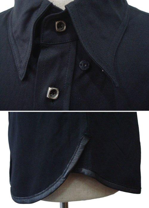 """他の写真2: ISAMU KATAYAMA BACKLASH(イサムカタヤマ バックラッシュ) """"WRINKLE"""" コットンポリエステル+シープレザー ストレッチ シワ加工 シャツ BLK"""