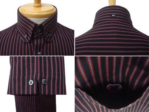 他の写真2: ORIGINAL JOHN(オリジナルジョン) S/S レジメンタルストライプ クラッシック ラウンドカラー BDシャツ BLK