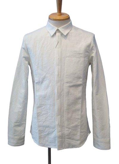 画像1: 【50%OFF!!SALE!!】Dhyana(ディアーナ) ハードワッシャーコットンリネン シャドーポケットシャツ WHT