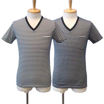 画像1: 【50%OFF!!SALE!!】Magine(マージン) ボーダー Vネック Tシャツ