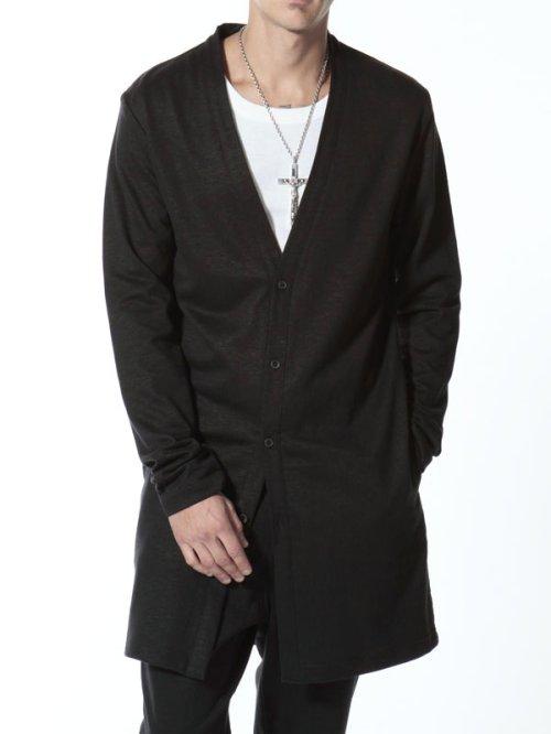 """他の写真3: ISAMU KATAYAMA BACKLASH(イサムカタヤマ バックラッシュ) """"TRUMBO"""" コットンリネン+ジャパンホースレザー ロングカーディガン BLK"""