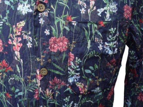 """他の写真3: THEE OLD CIRCUS(ジオールドサーカス) """"Rain Flower"""" インクジェットフラワープリント 7分袖シャツ NVY"""