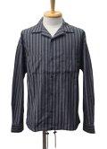 【30%OFF!!SALE!!】EGO TRIPPING エゴトリッピング ストライプヘリンボーンシャツ GRY