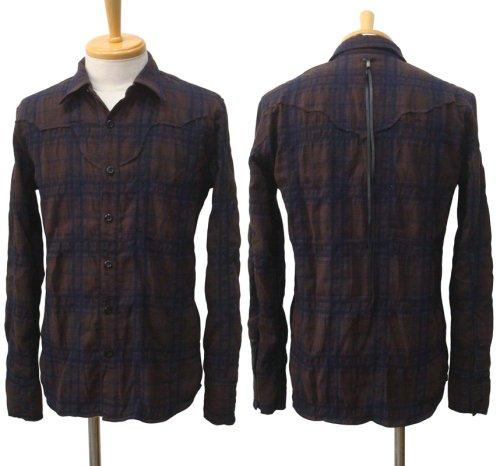 他の写真1: STRUM ストラム コットンウール縮絨チェックシャツ BRN