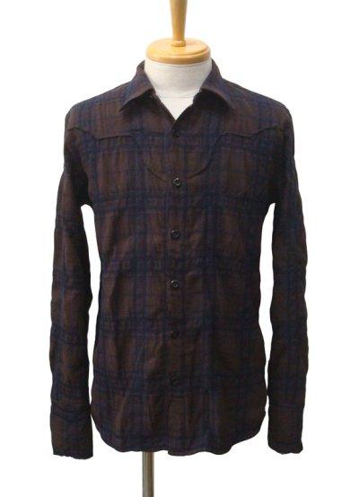 画像1: STRUM ストラム コットンウール縮絨チェックシャツ BRN