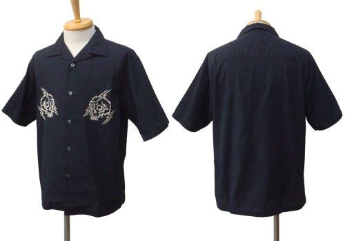 他の写真1: PROPA9ANDA プロパガンダ RAIKIRI 髑髏 オープンカラーシャツ BLK