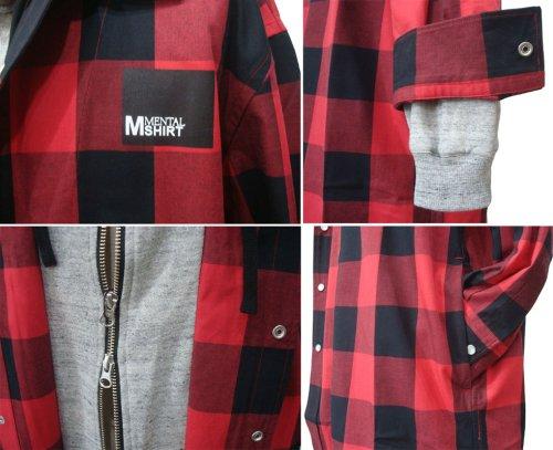 他の写真2: MENTAL メンタル / Moonage Devilment フード チェックシャツ RED