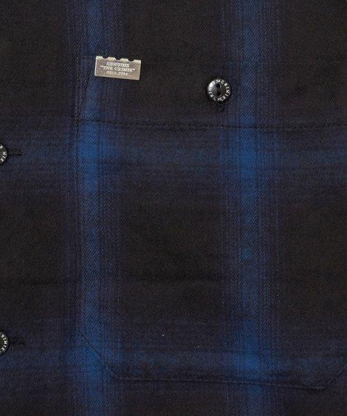他の写真3: CRIMIE クライミー オンブレチェックネルシャツ BLU