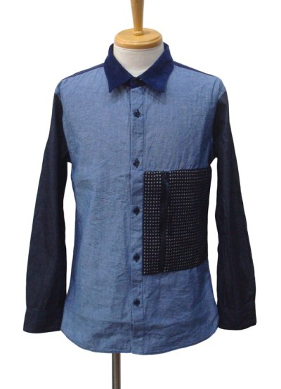 画像1: Burnout バーンアウト 刺し子ポケット クレイジーシャツ