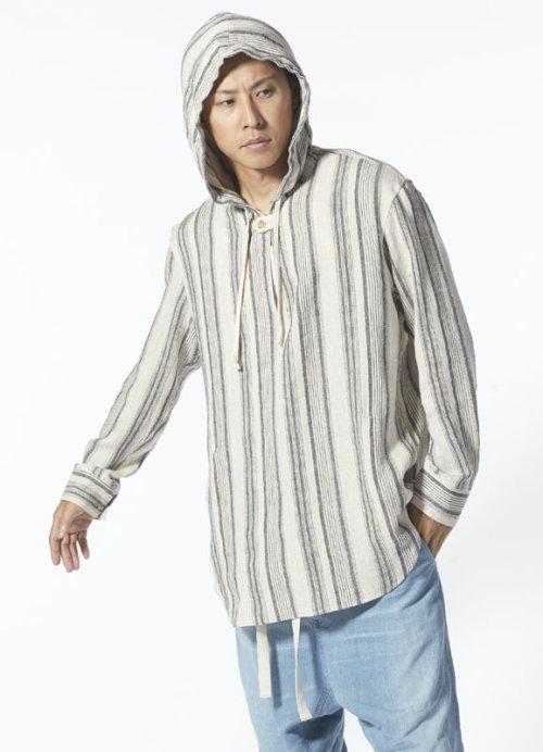 """他の写真3: ISAMU KATAYAMA BACKLASH イサムカタヤマ バックラッシュ """"Wearing at home"""" リネンシルクストライプ メキシカンパーカー"""