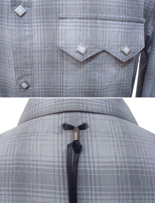 他の写真2: STRUM ストラム 30/- 強撚糸 平織り トーンオントーンチェック ウエスタンシャツ GRY