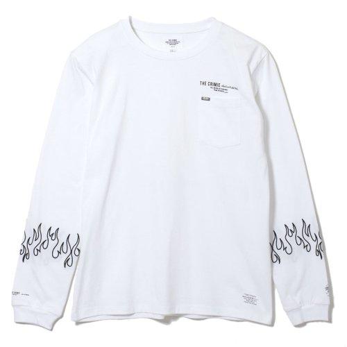 他の写真1: CRIMIE クライミー ファイヤー刺繍 ポケット付き ロングスリーブ Tシャツ WHT