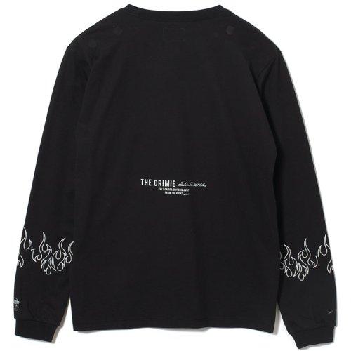 他の写真2: CRIMIE クライミー ファイヤー刺繍 ポケット付き ロングスリーブ Tシャツ BLK