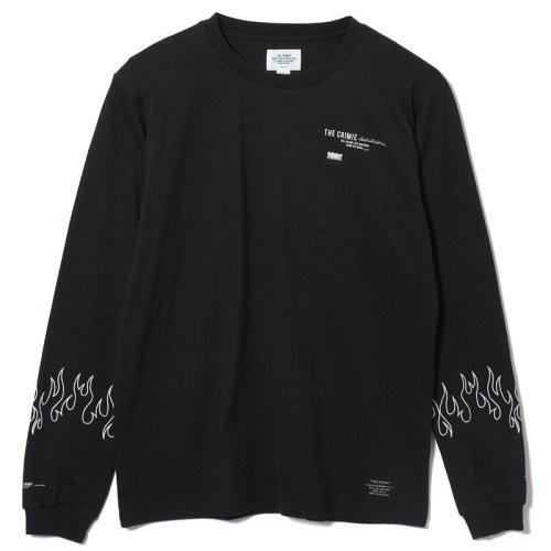 他の写真1: CRIMIE クライミー ファイヤー刺繍 ポケット付き ロングスリーブ Tシャツ BLK