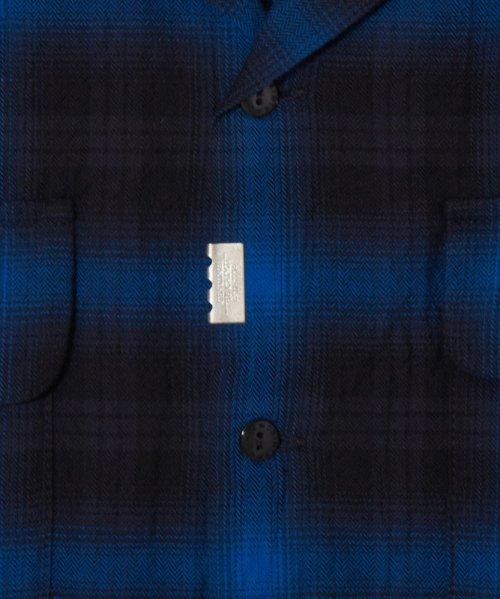他の写真3: CRIMIE クライミー ヘリンボンオンブレチェック 半袖シャツ BLU